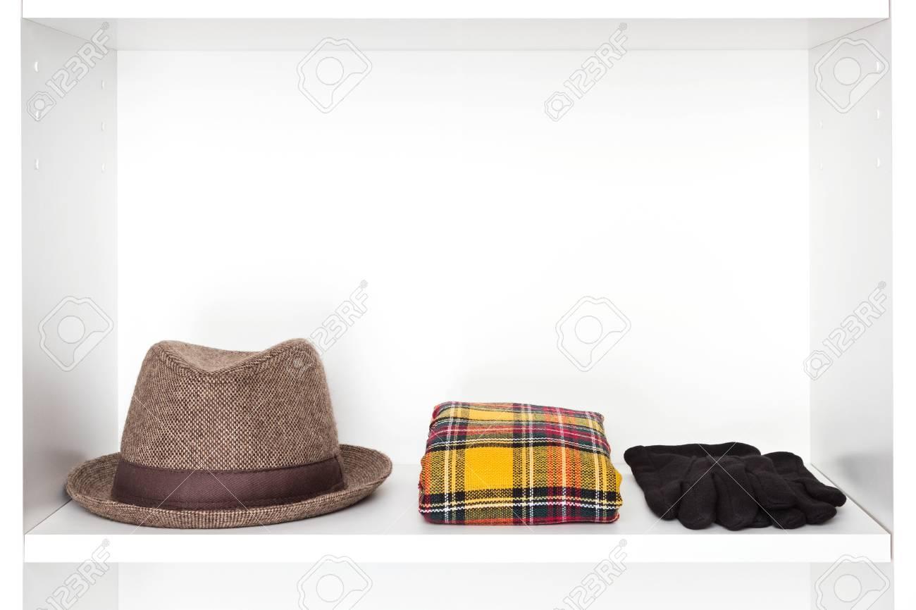 Fashion accessories storage in dressing room. narrow brim trilby