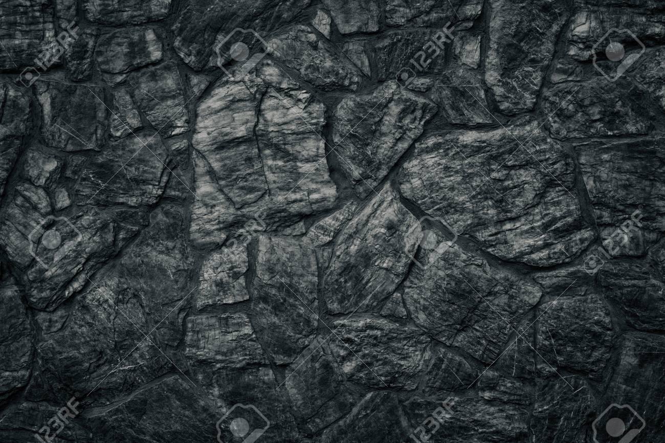 Black Stone Wall Texture Dark Sinister Gothic Background Stock Photo