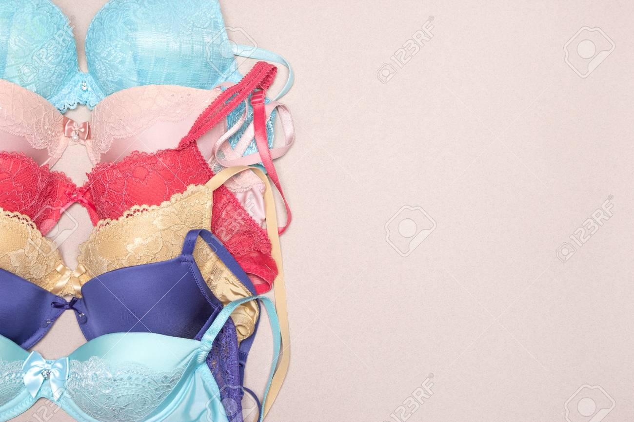 14f9546f3 Row of lace push-up bras. Various colored brassieres. Fashion shopping  background with