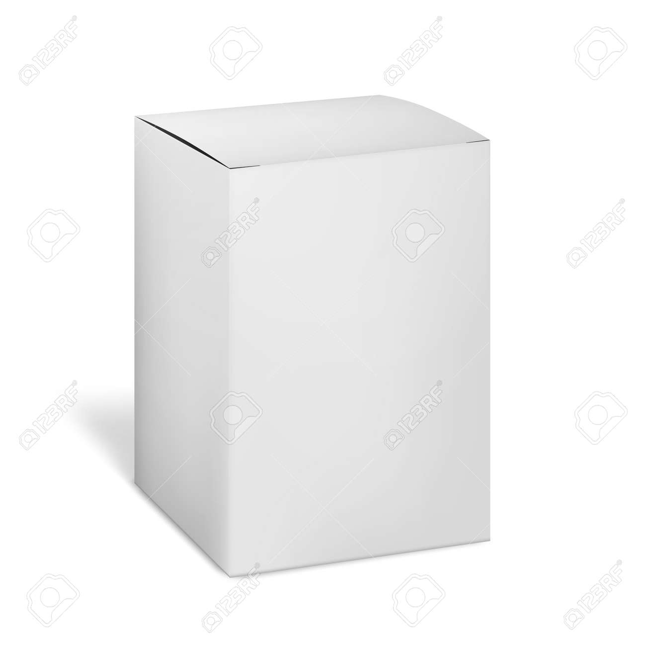 Blank carton box isolated on white background, vector mockup. Paper cardboard package. Mock-up for design - 149834662