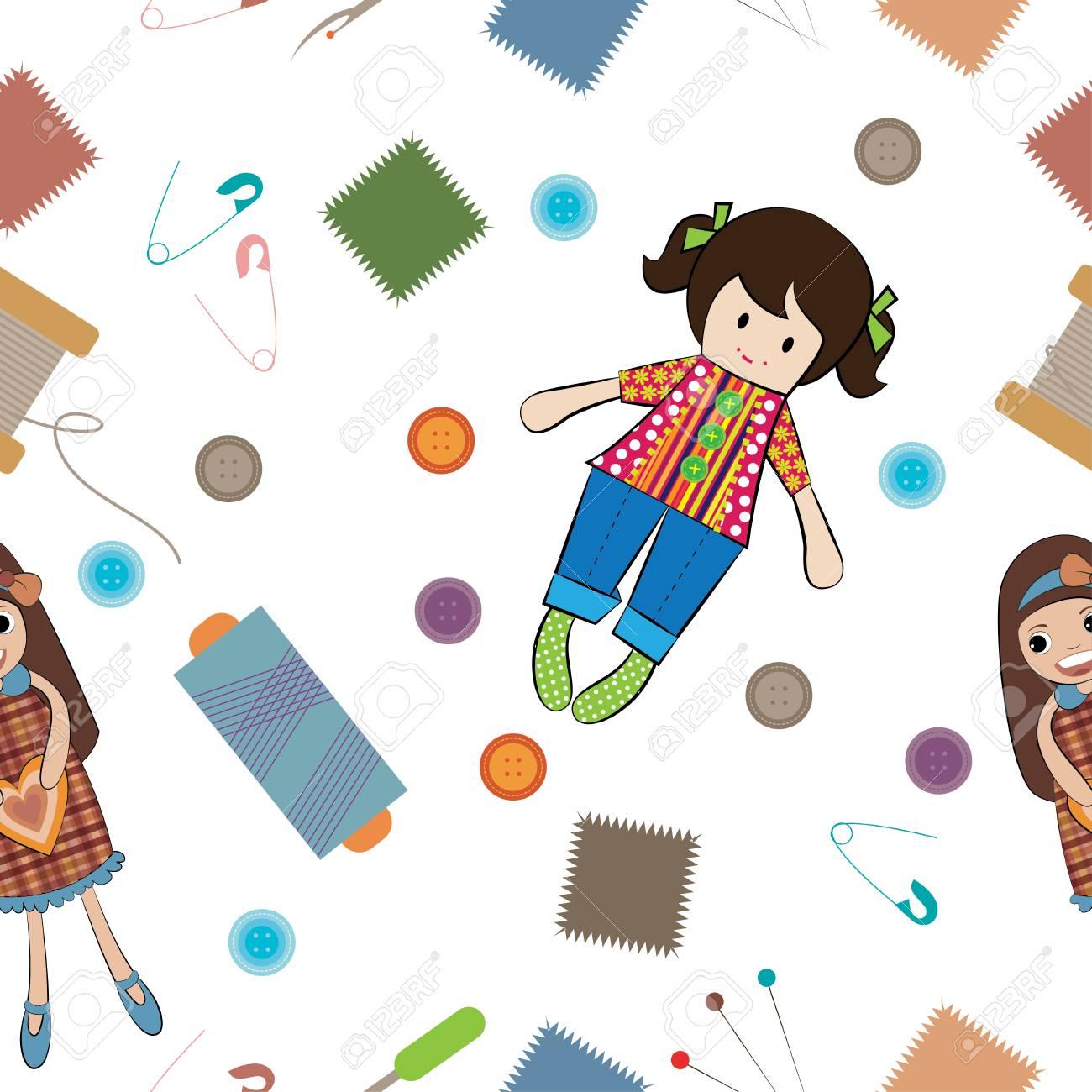 Muñeca Con Herramientas De Costura Vector Patrón Ilustraciones ...