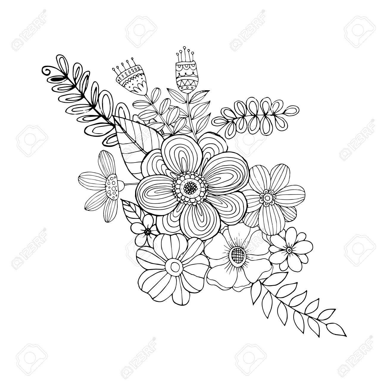 Página Para Colorear Con Flores De Bosquejo Del Vector Ilustraciones ...