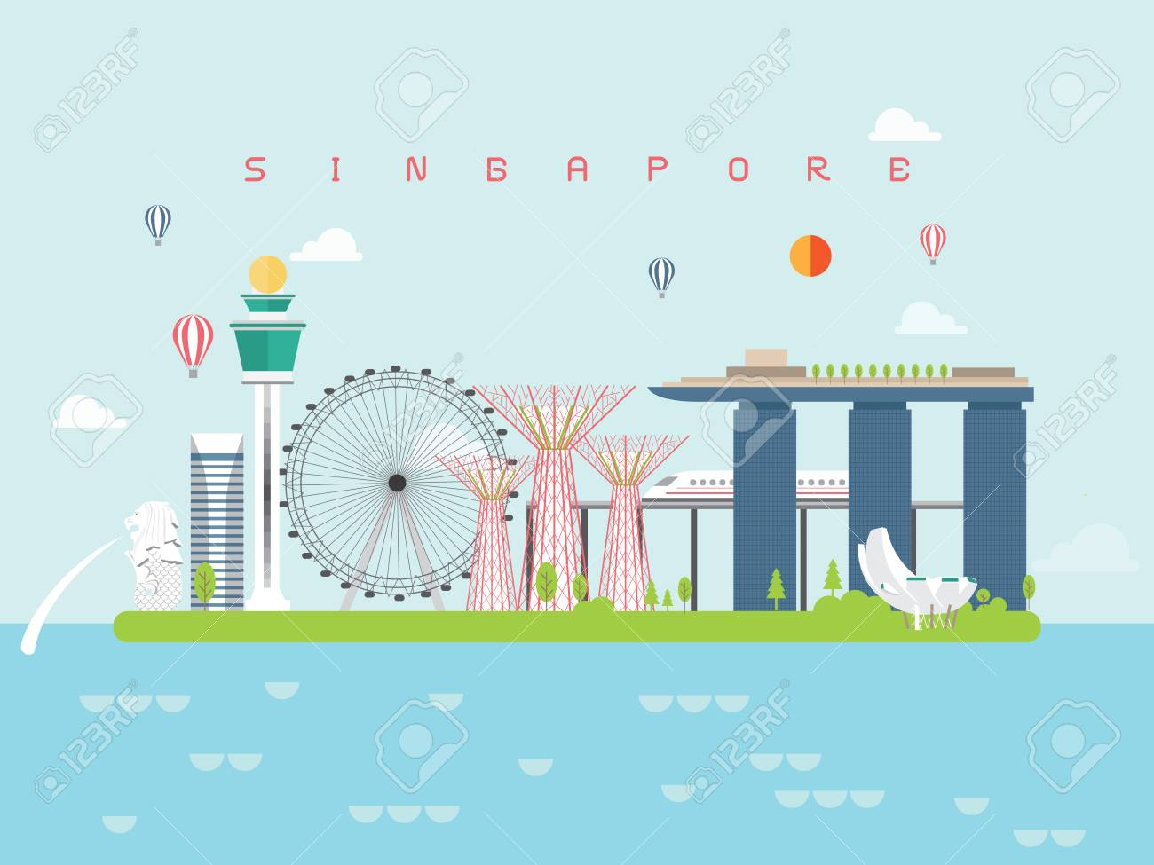 Singapore Famous Landmarks Infographic Templates for Traveling Minimal Style and Icon, Symbol Set Vector Illustration Can be use for Poster Travel book, Postcard, Billboard. - 102688834