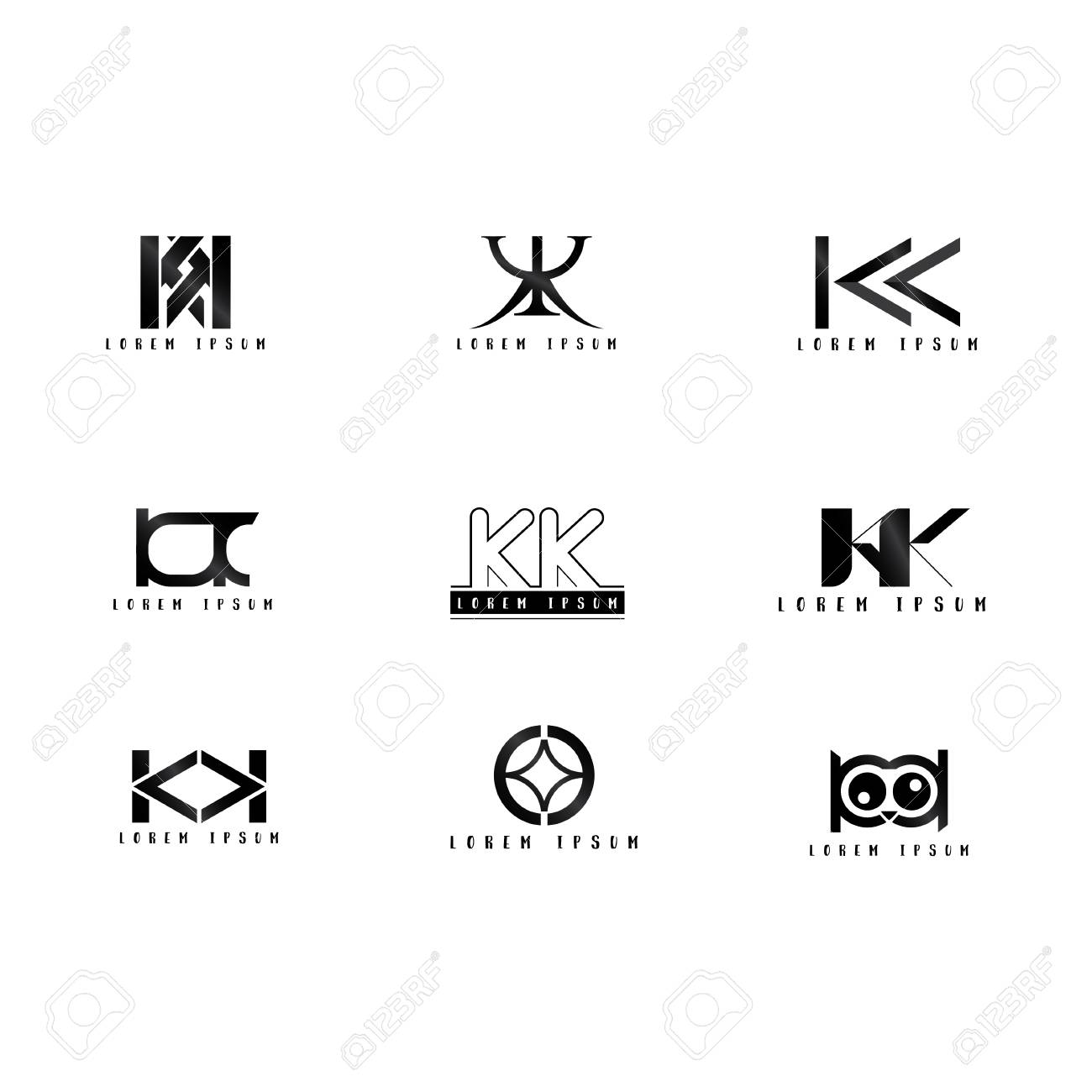 Kk Logo Vector Design Letter With Creative Font Set Royalty Free Cliparts Vectors And Stock Illustration Image 109589049