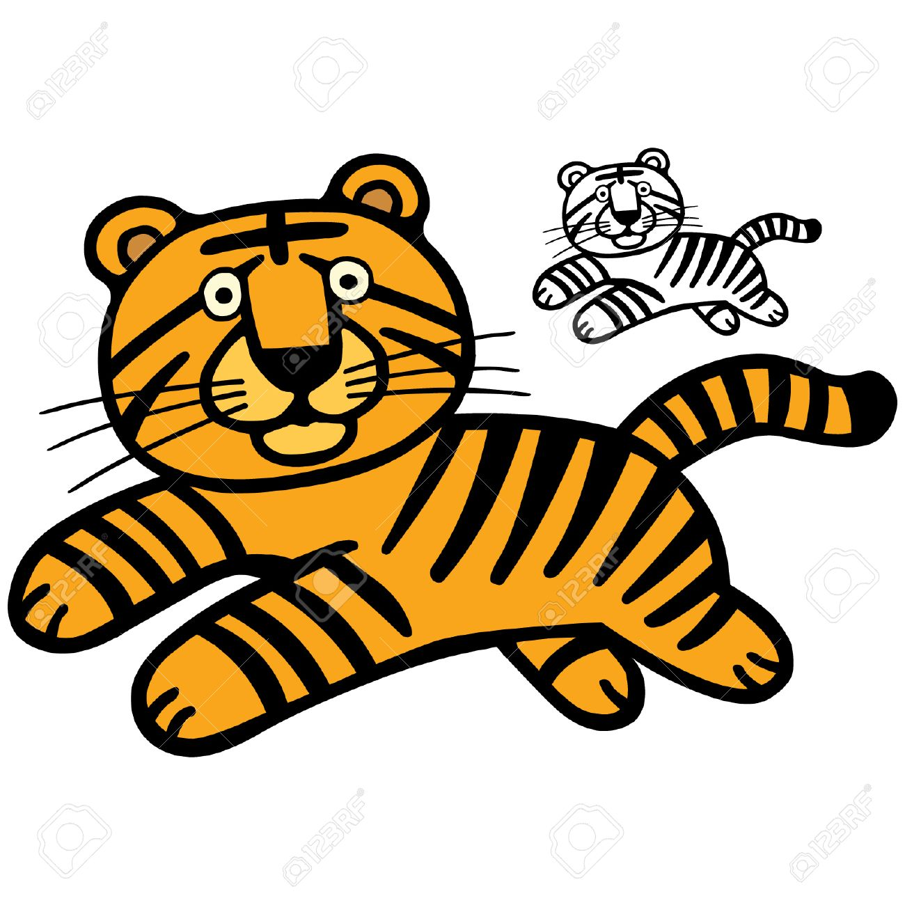 A cute tiger cartoon illustration. Stock Vector - 5933794