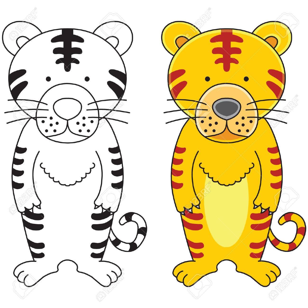 A cute tiger cartoon illustration. Stock Vector - 5933798