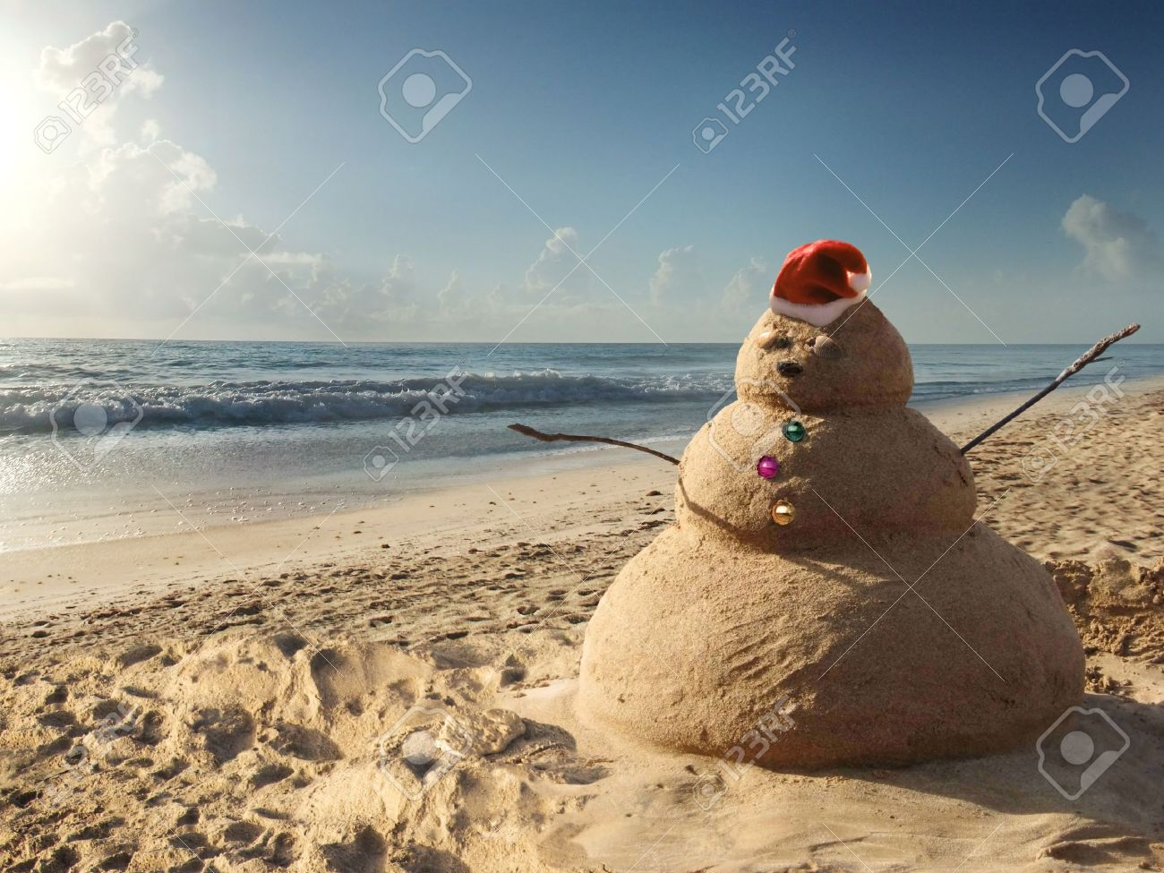 Christmas Beach.Christmas Sandman At The Beach Holiday Concept