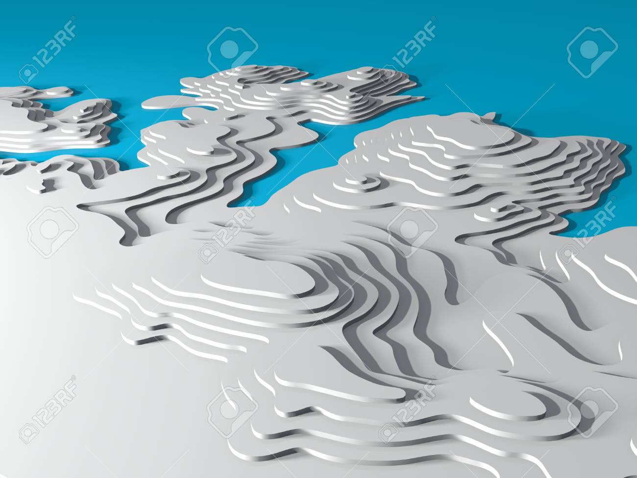 3d Topographic Map Background Concept Topo Map Rendering 3d