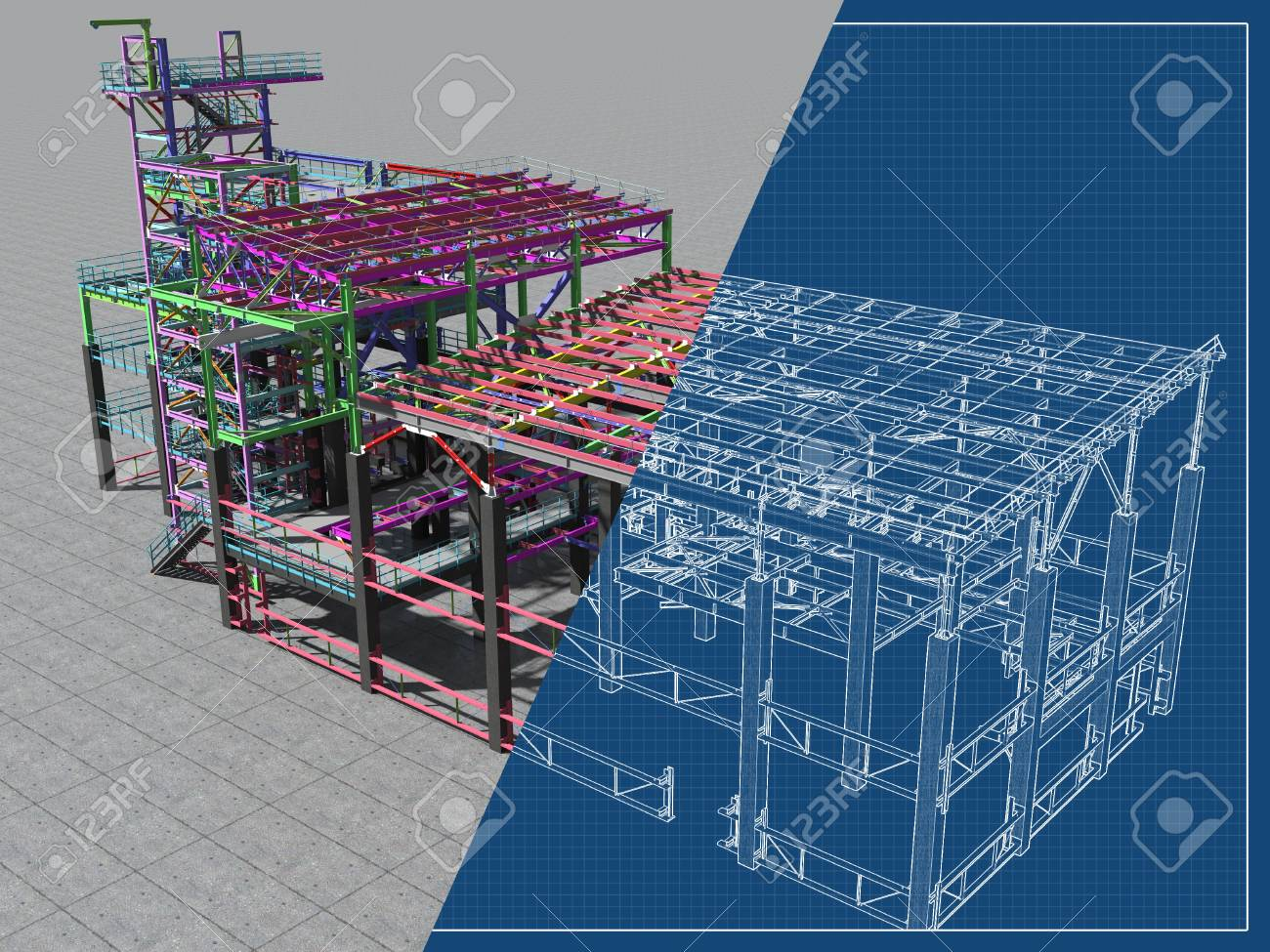 BIM model of a building made of metal construction, metal structure. 3D architectural, construction, industrial and engineering background. 3D rendering. Drawing blueprint. - 116819454