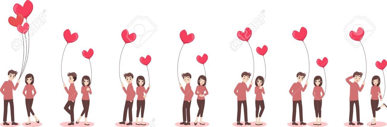 Dessin Amoureux Mignon ensemble de personnages dessin animé mignon couple d'amoureux pour l