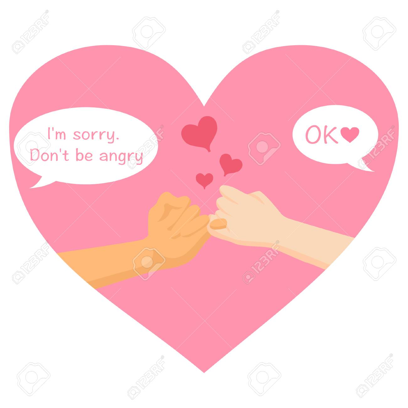 Im Sorry Dont Be Angry Cross Finger Hands Form On Pink Heart
