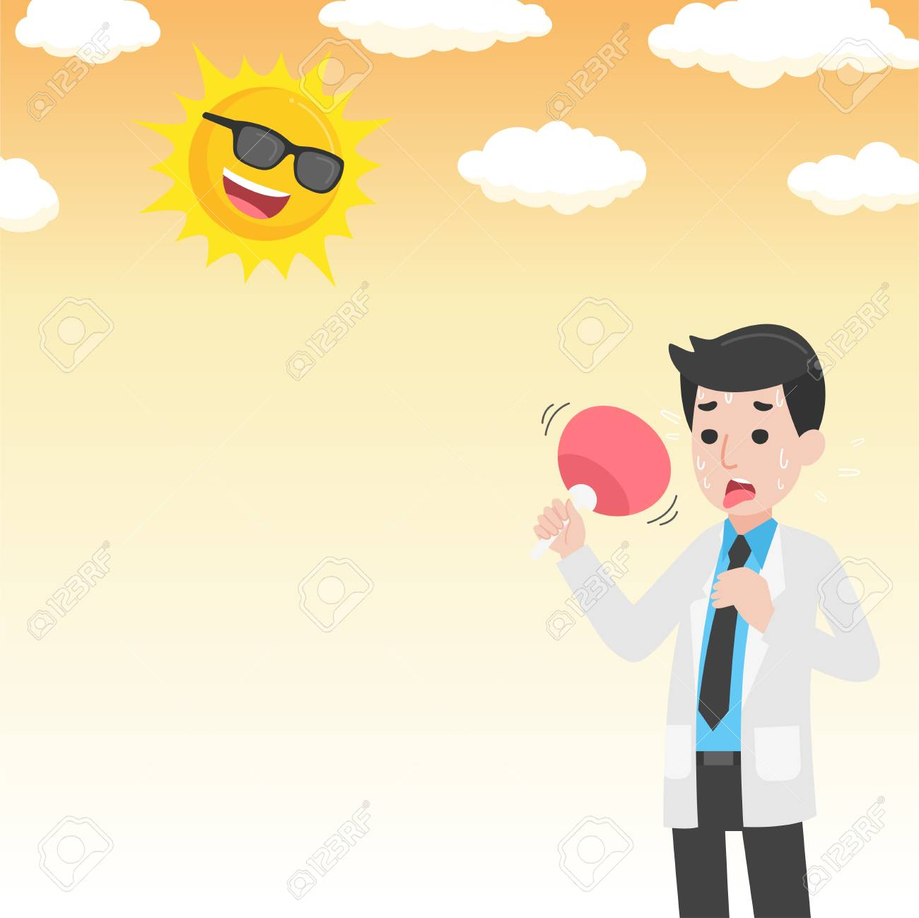 Doctor Holding Fan Have Heatstroke In Summer Concept Hot Weather Royalty Free Cliparts Vectors And Stock Illustration Image 124654677