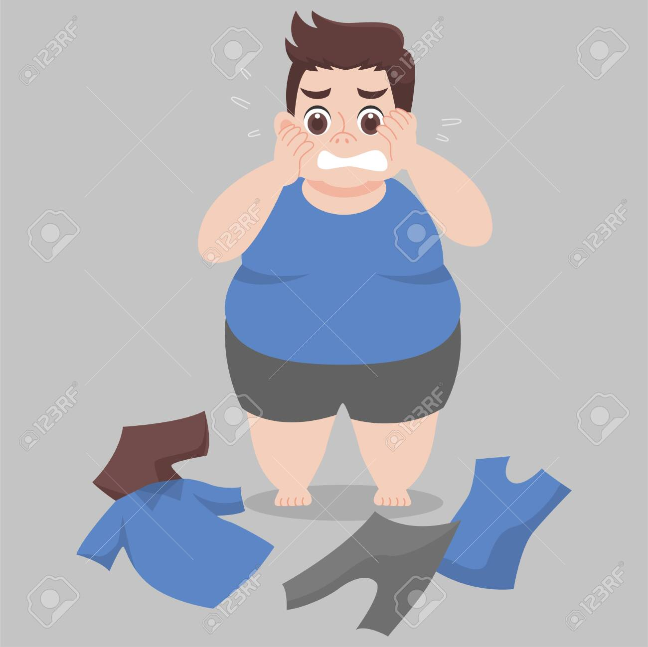 Big Fat Man cannot wearing her clothes because she is too fat,tight, fit, too small, body over weight, sad, afraid, unhappy, big size, diet cartoon lose weight, Lifestyle healthy Healthcare concept - 132024720
