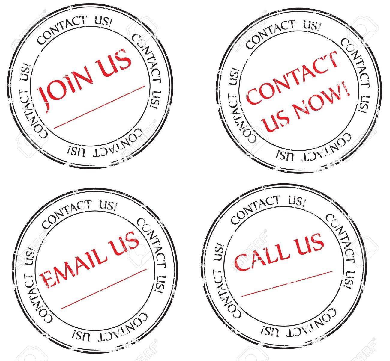 Set:  Contact us, Email us, Join us message on stamp Stock Photo - 9037607