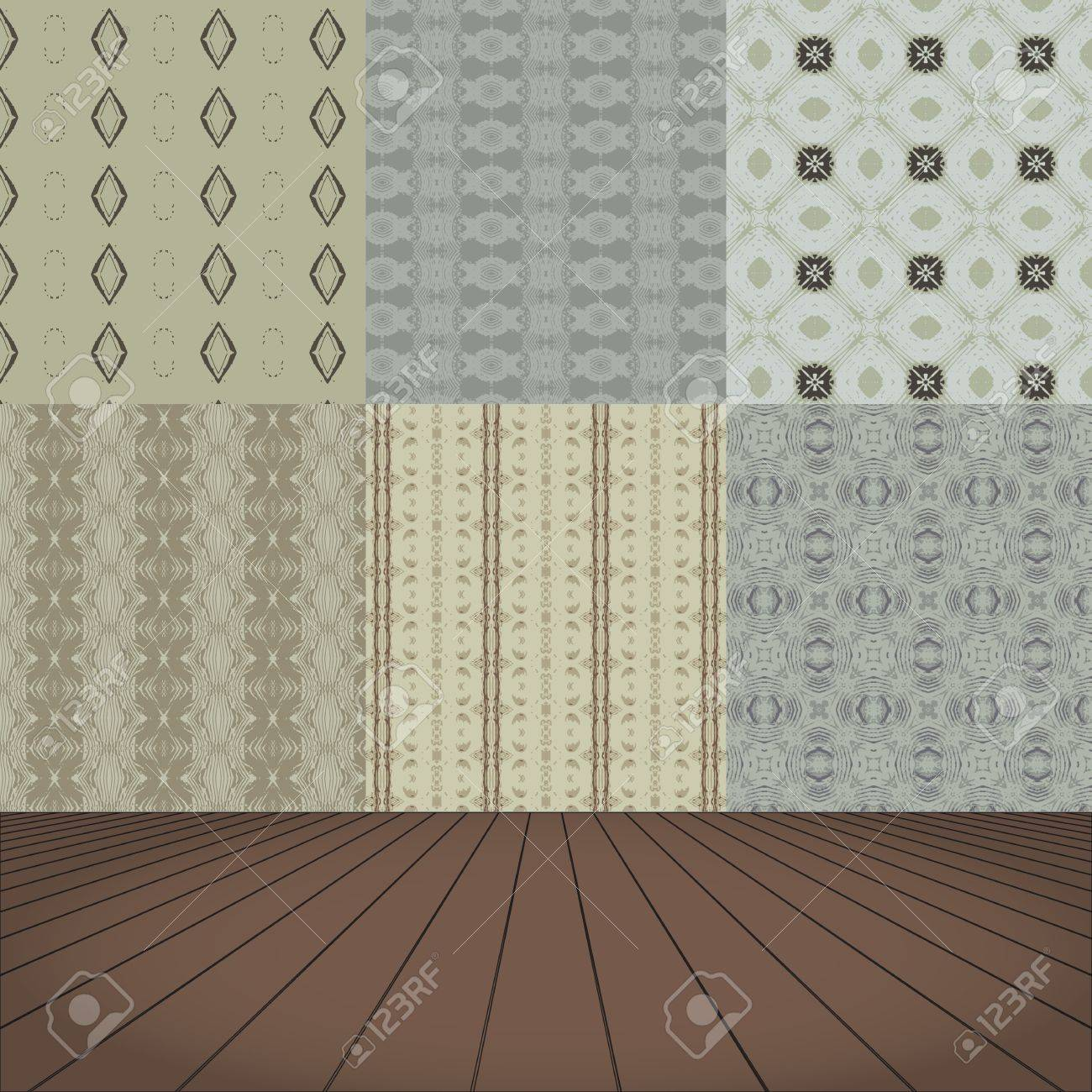 Room with set seamless and wooden floor Stock Vector - 17214765