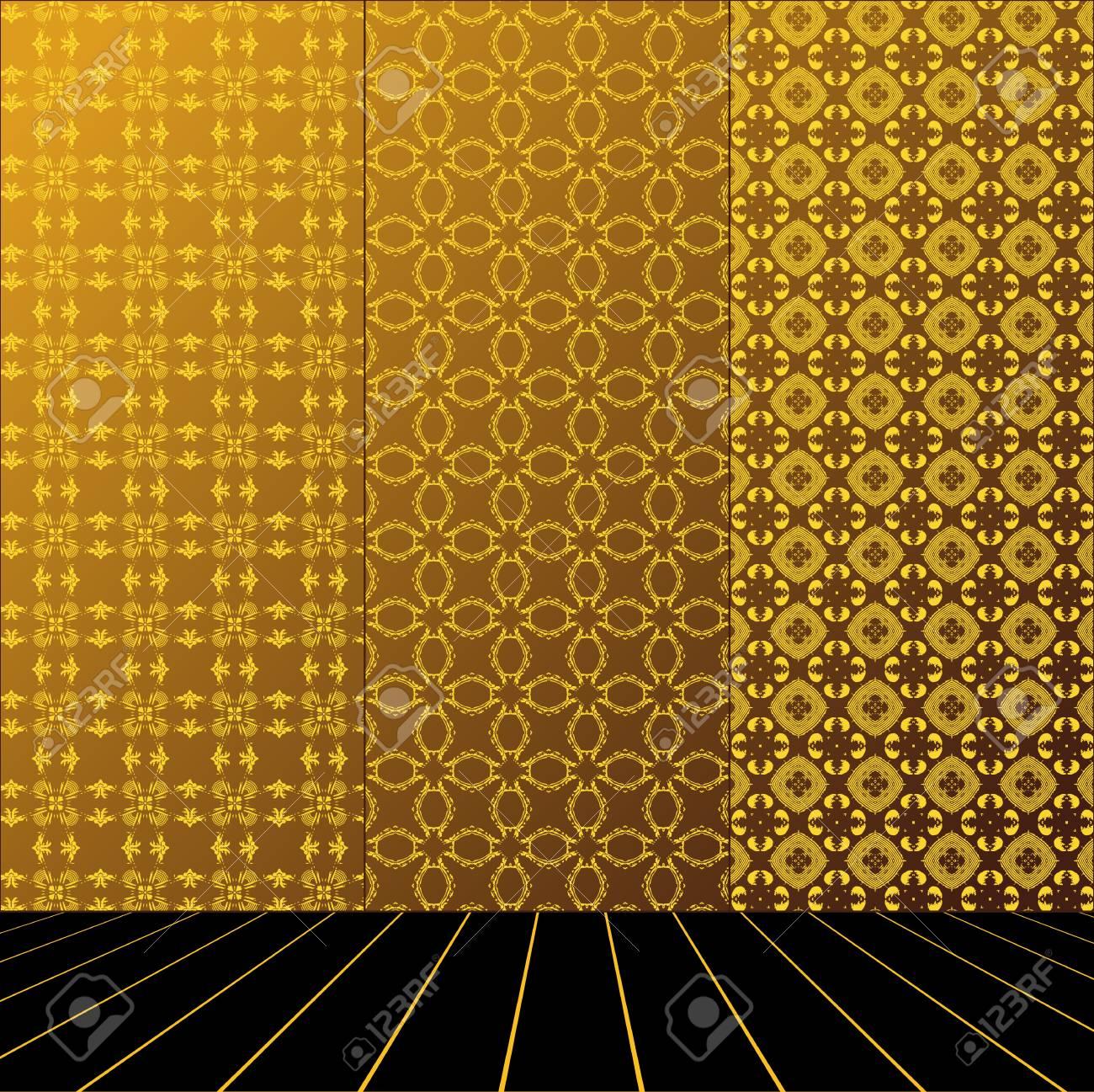 Golden Room with set seamless and wooden floor Stock Vector - 17632341