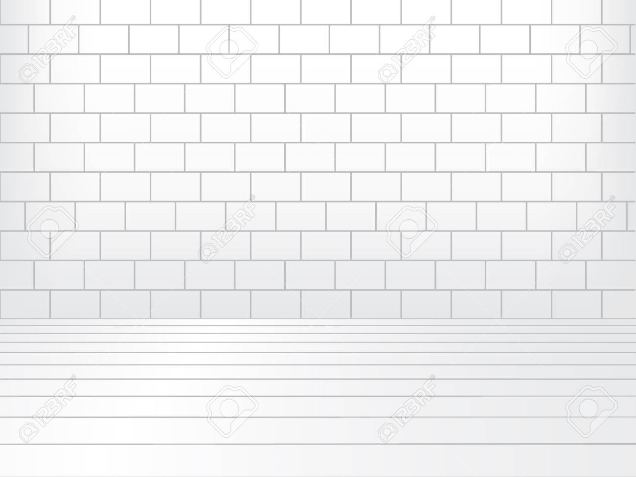 White room with brick wall and wooden floor Stock Vector - 17632383