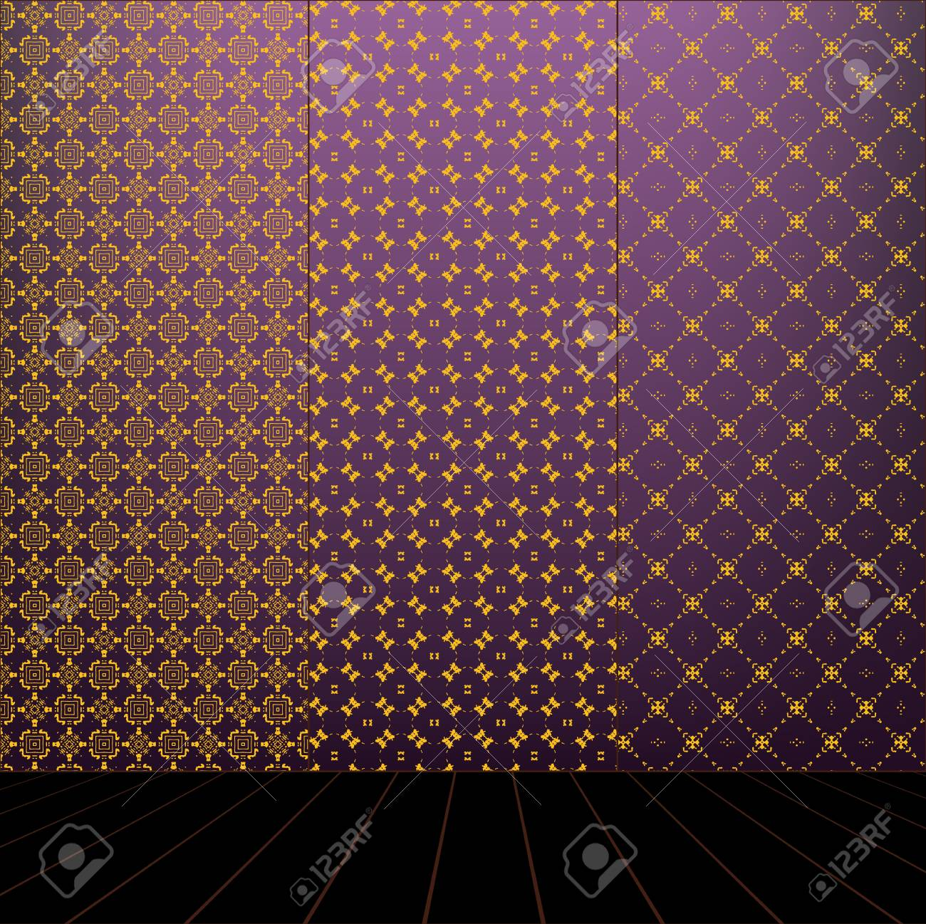Lilac Room with set seamless and wooden floor Stock Vector - 17723194
