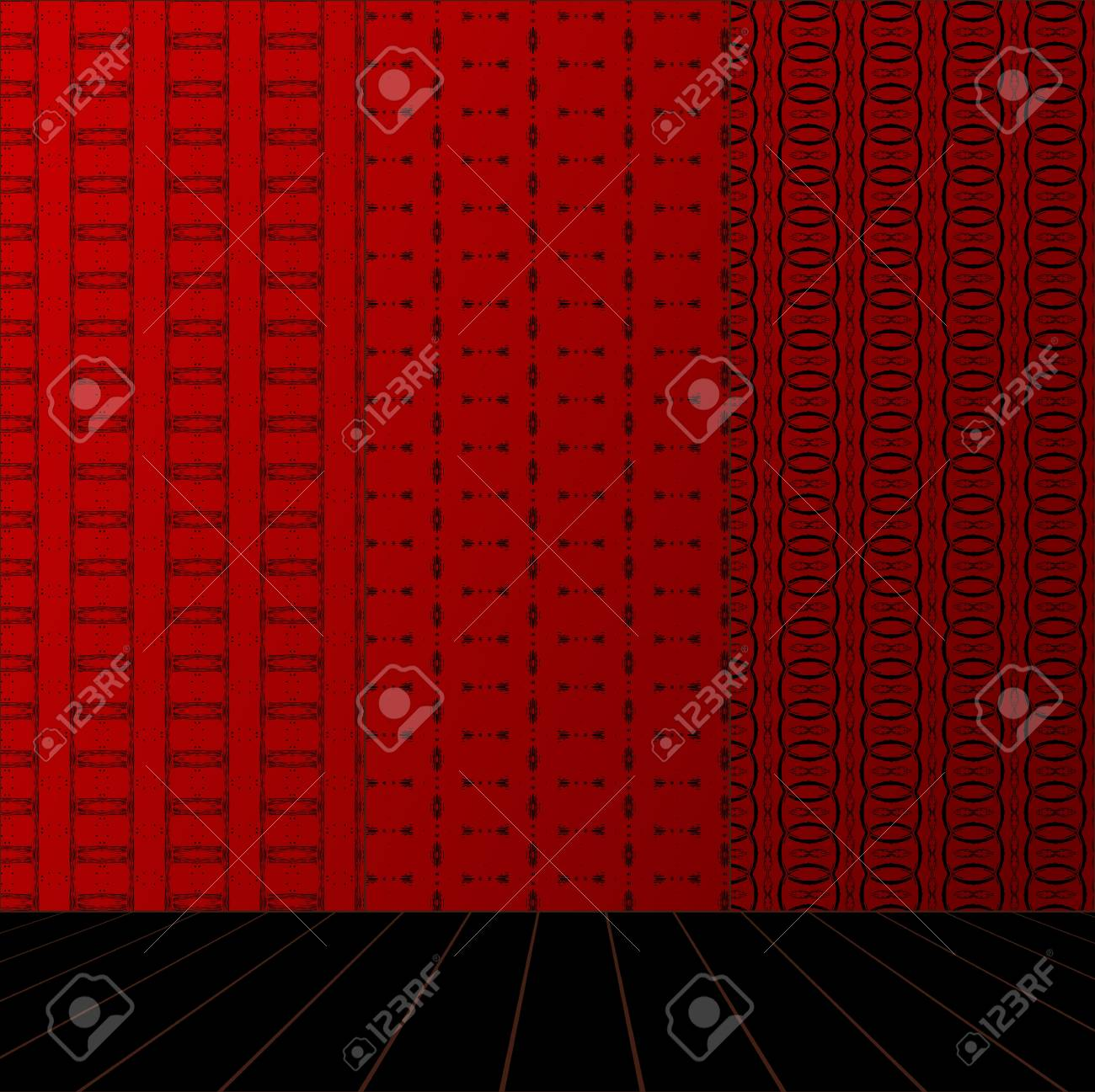 Red Room with set seamless and wooden floor Stock Vector - 17818088