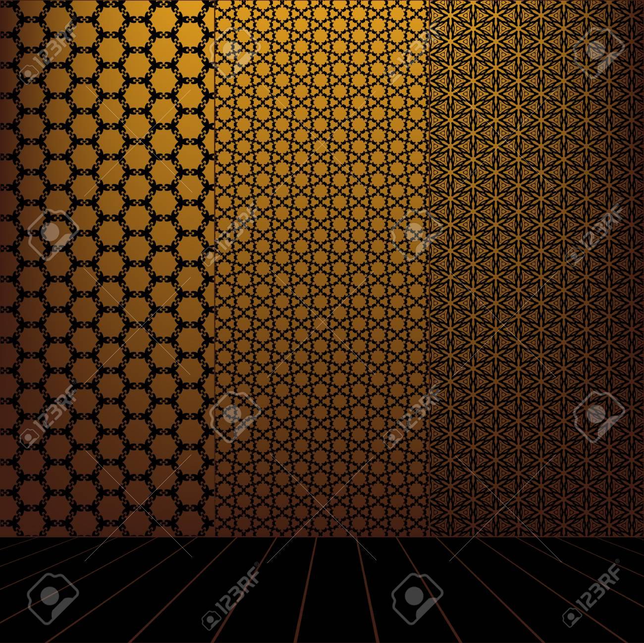 Golden Room with set seamless and wooden floor Stock Vector - 17962461