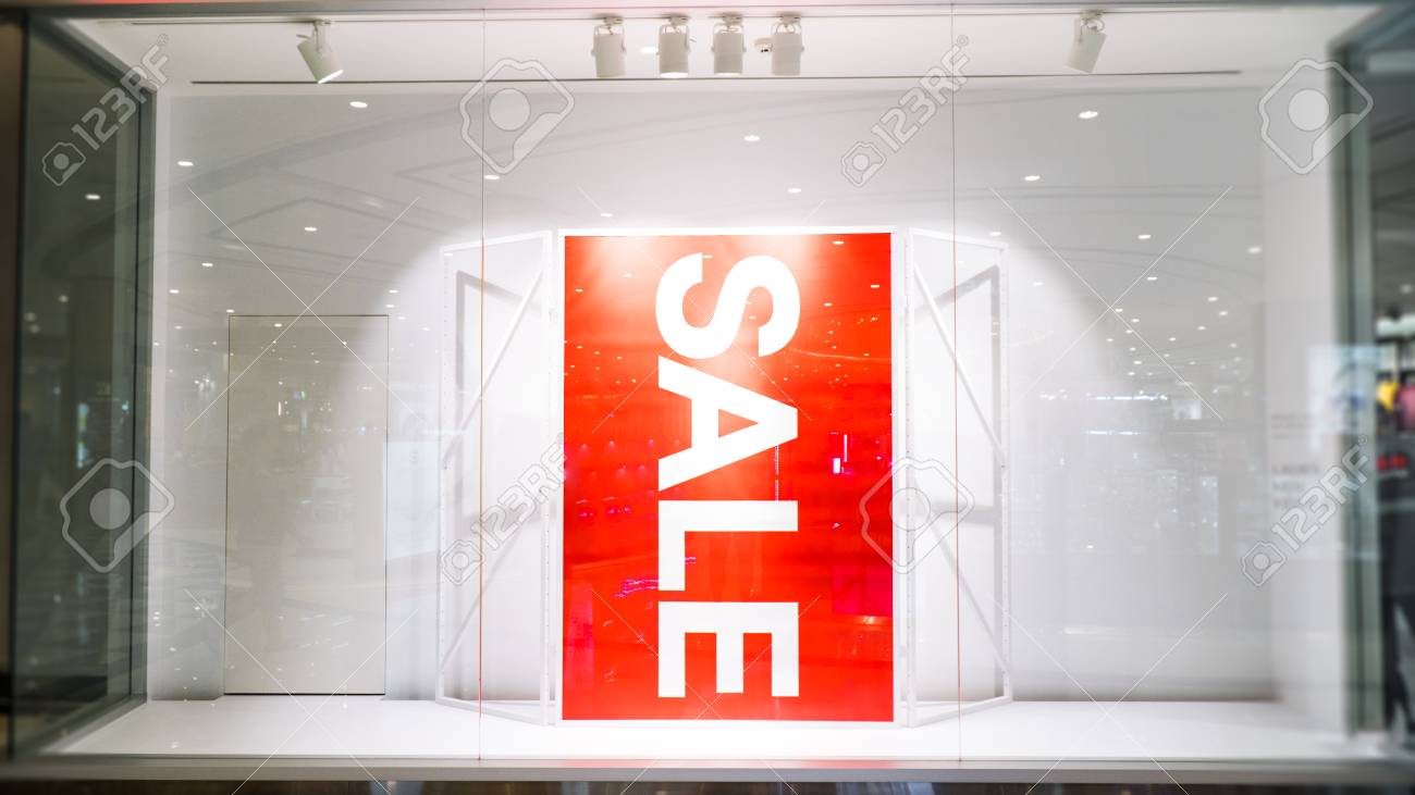 sale banner in front of store,successful business marketing with