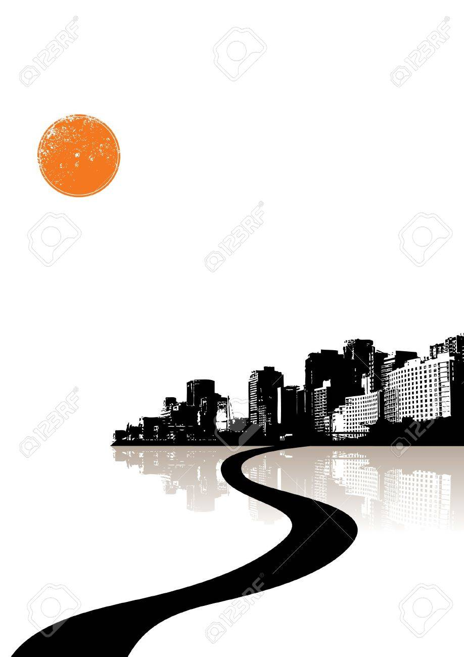 City reflected in the water. Vector Stock Photo - 3436401