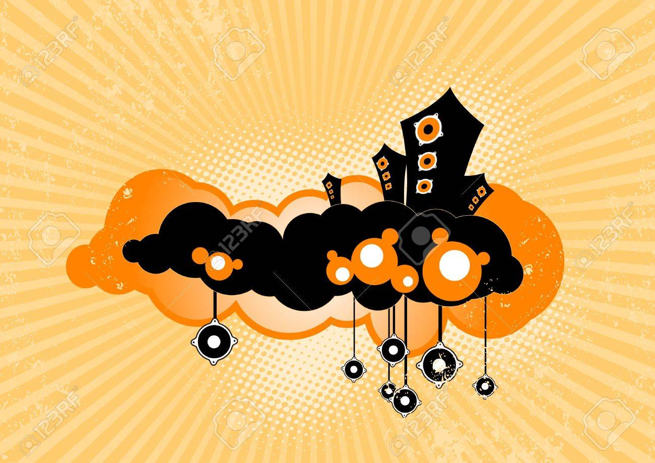 speakers art. stylish speakers floating on clouds. vector art stock photo - 4424358