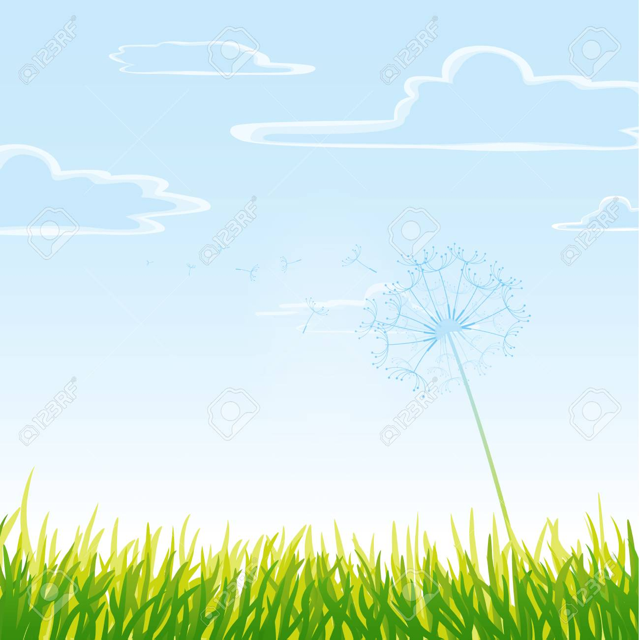 Meadow with cloudy sky. Stock Vector - 8829568