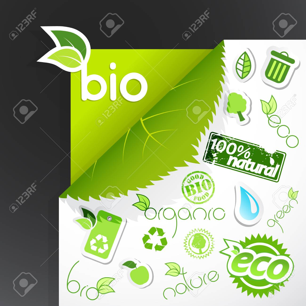Set of green ecology icons. Stock Vector - 9185293