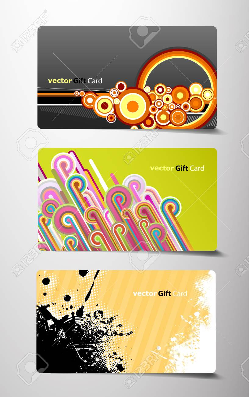 Set of three different gift cards. Stock Vector - 9829486