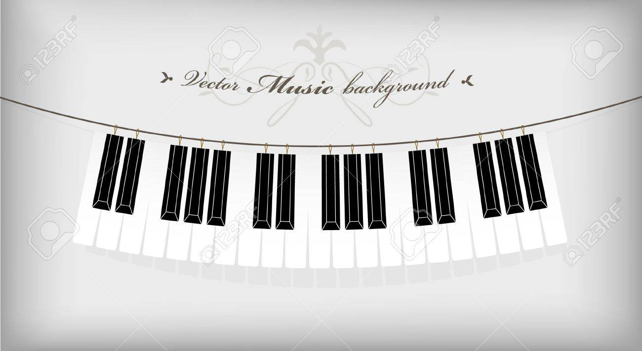 Hanging piano keyboard with place for your text. Stock Vector - 10221687