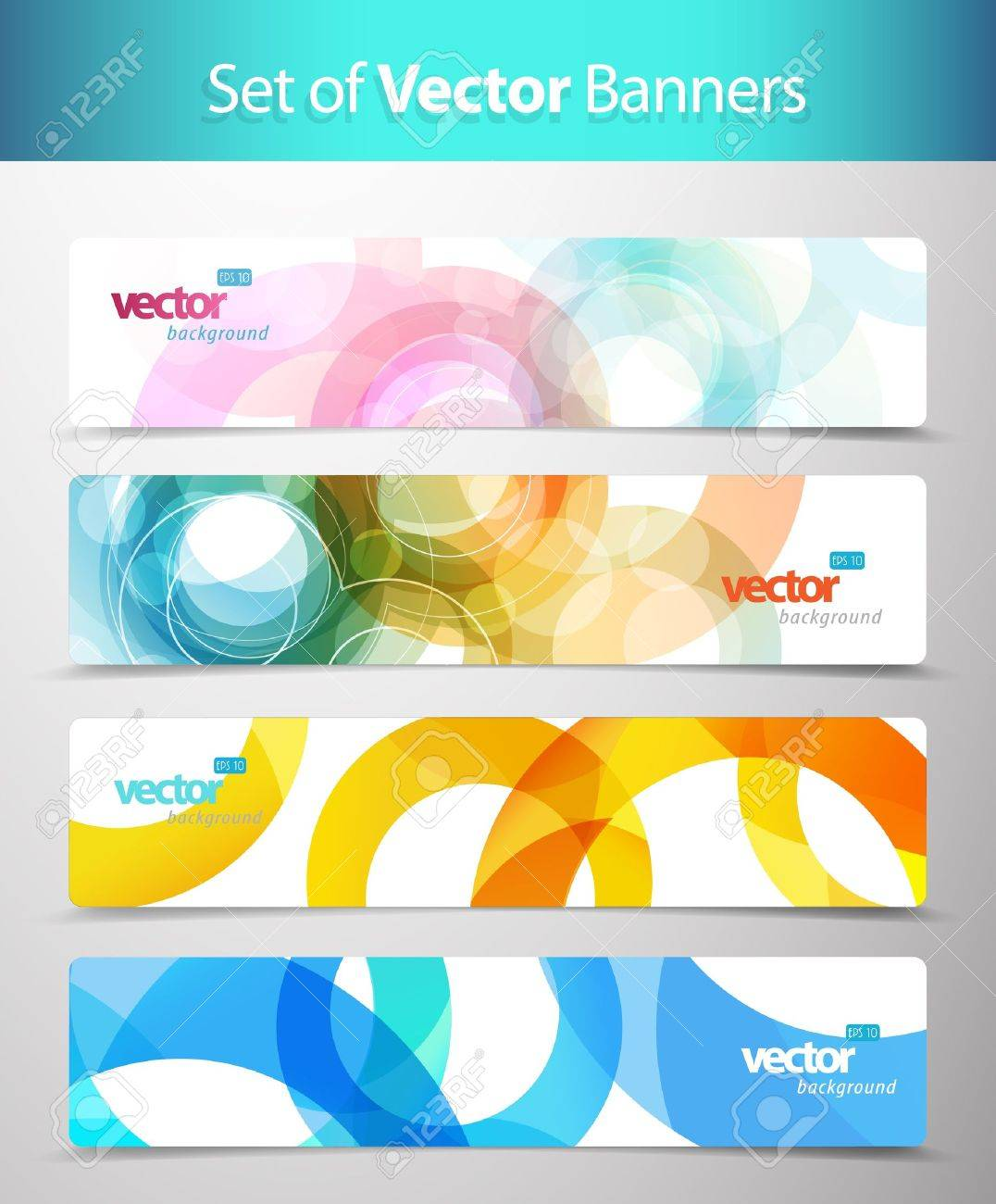 Set of abstract colorful web headers. Stock Vector - 10221714