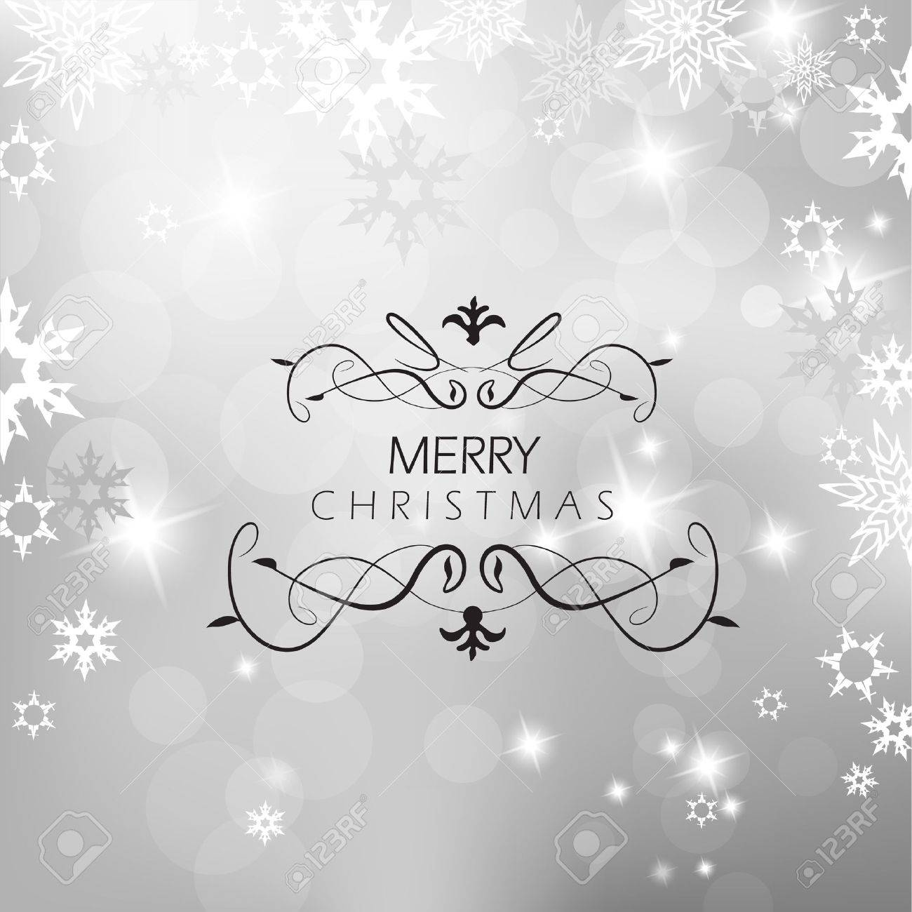 Christmas silver background with snow flakes. - 11254651