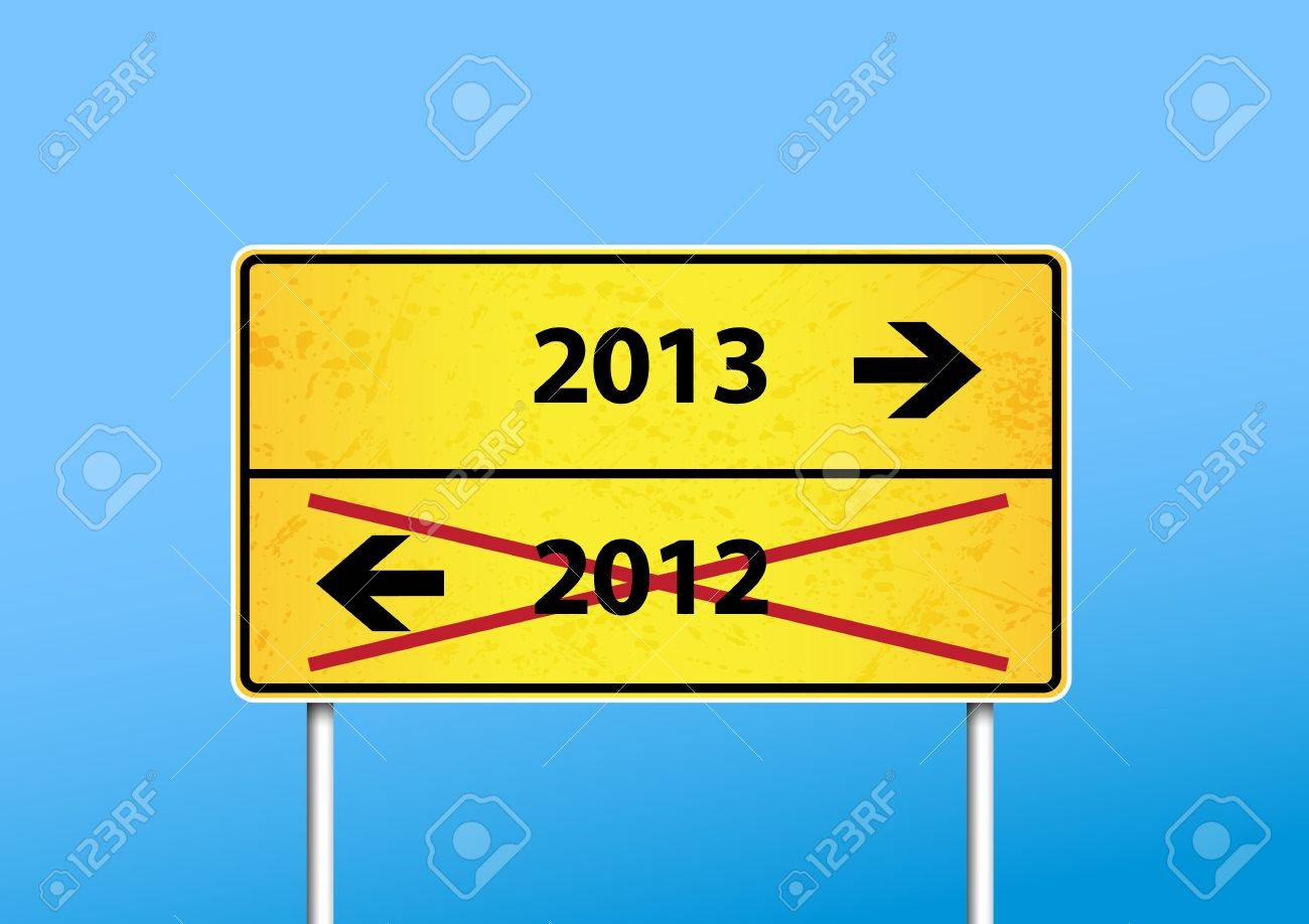 Yellow sign with 2013 direction. Stock Vector - 17680021