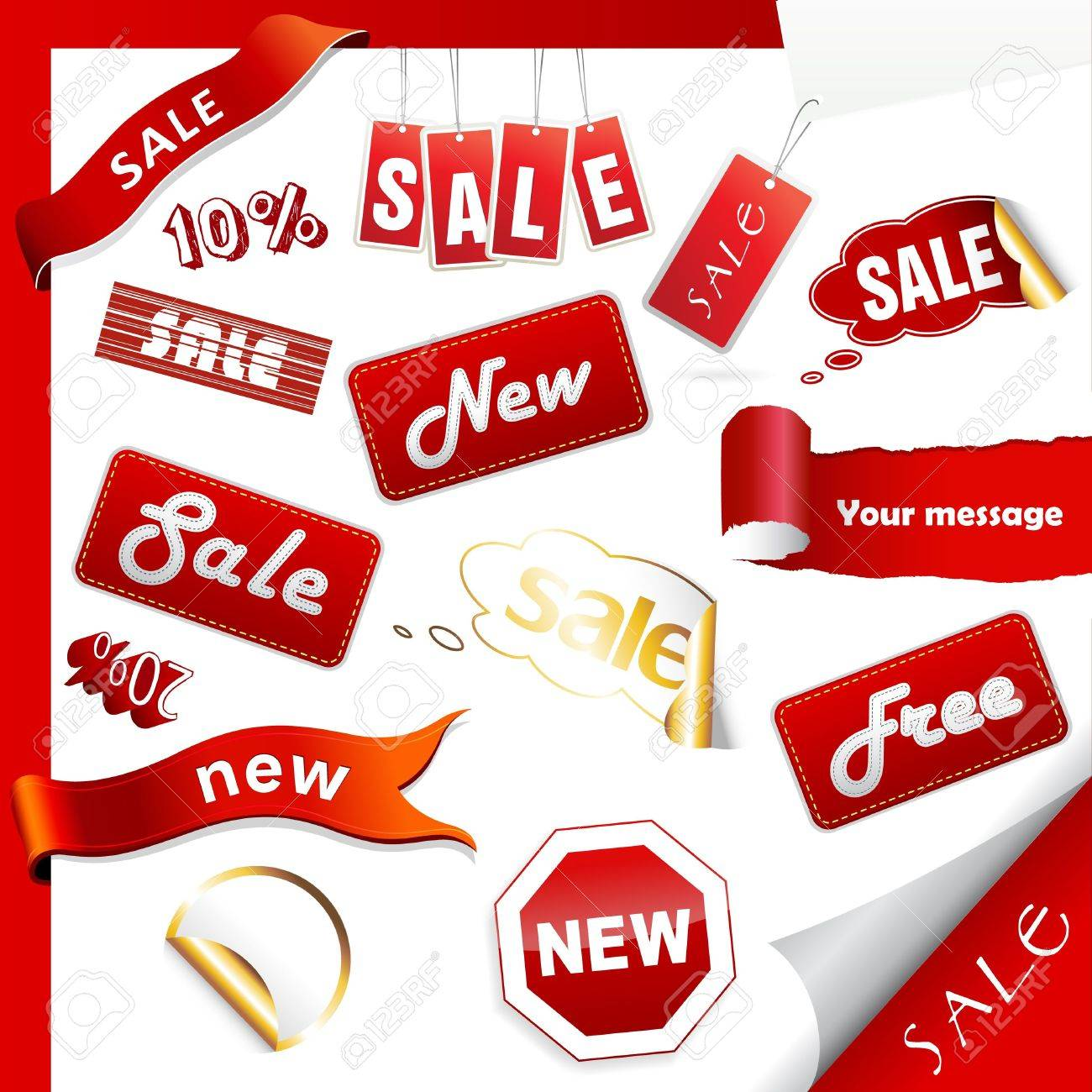 Set of sale icons, labels, stickers. - 17680087