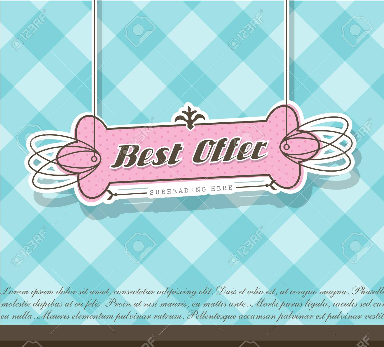 Pink Best Offer label on blue background. Stock Vector - 17680017