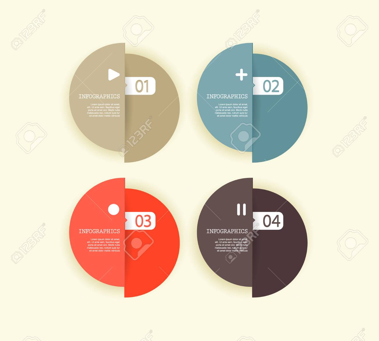 Four colored paper circles with place for your own text. Stock Vector - 19108600