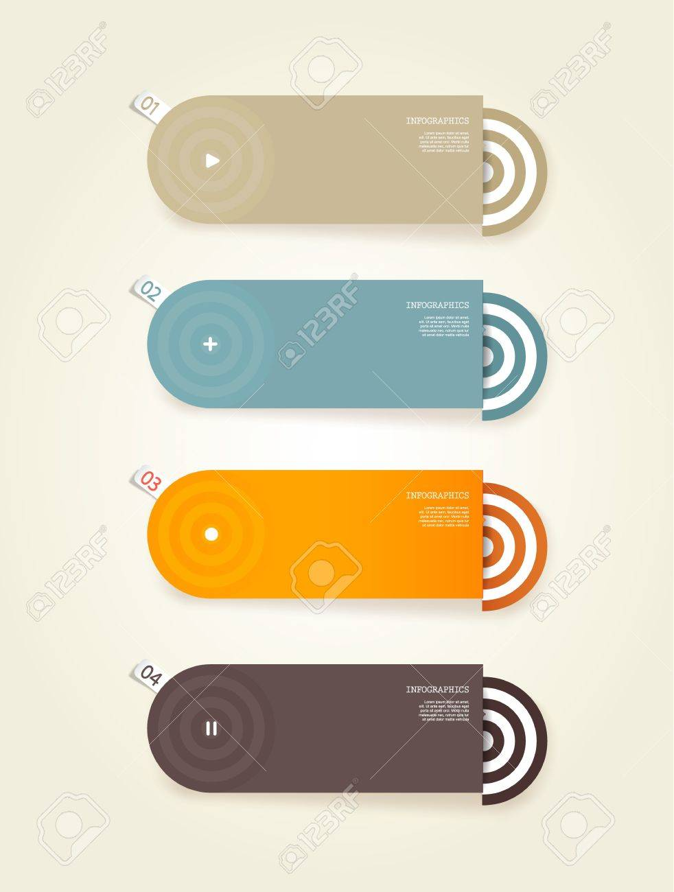 Four colored paper circles with place for your own text. - 19108595