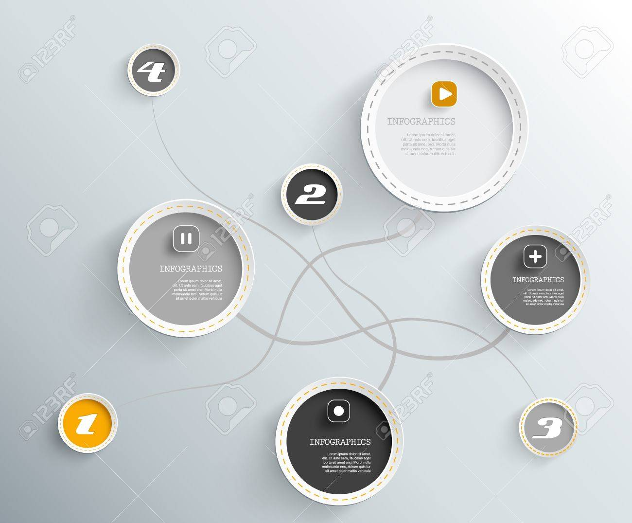 3d circles with shadows and place for your own text. - 20862687