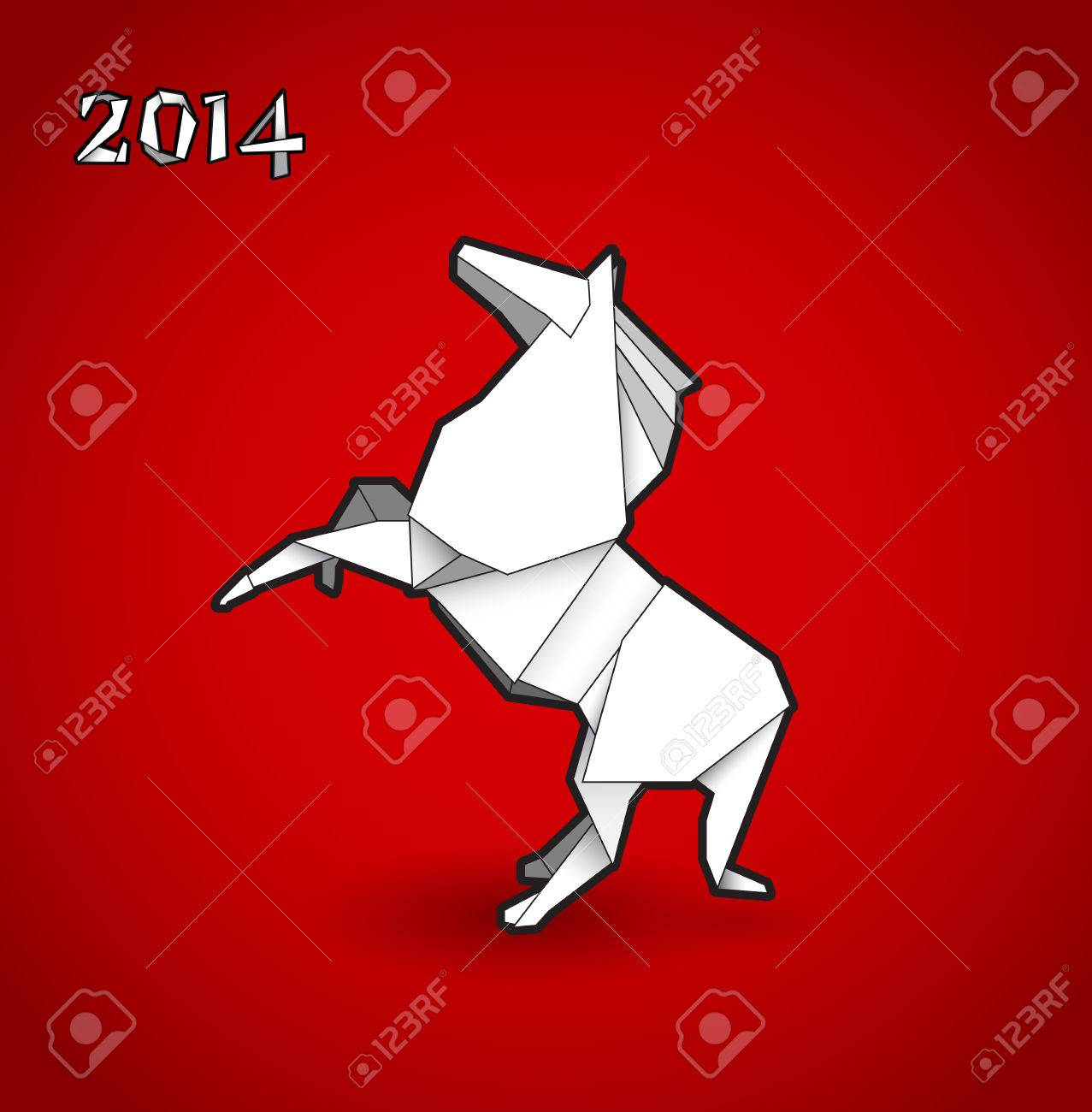 Oriental origami New year horse on red background. Stock Vector - 22764410