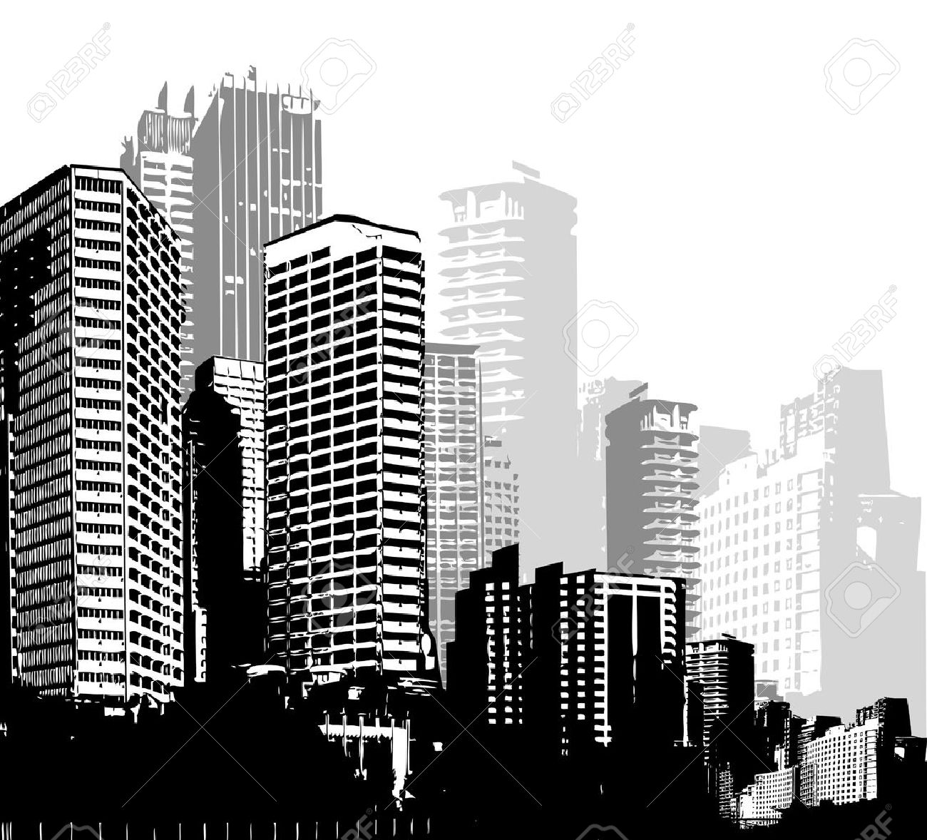 Black and white panorama cities vector art stock vector 39526607