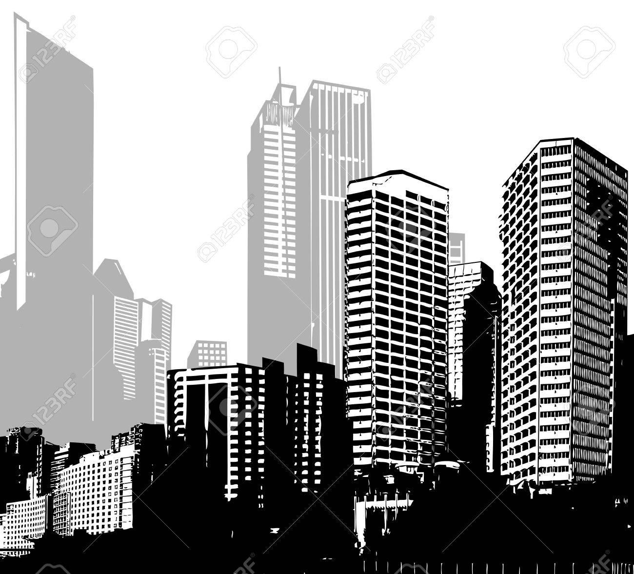 Black and white panorama cities vector art stock vector 44227402