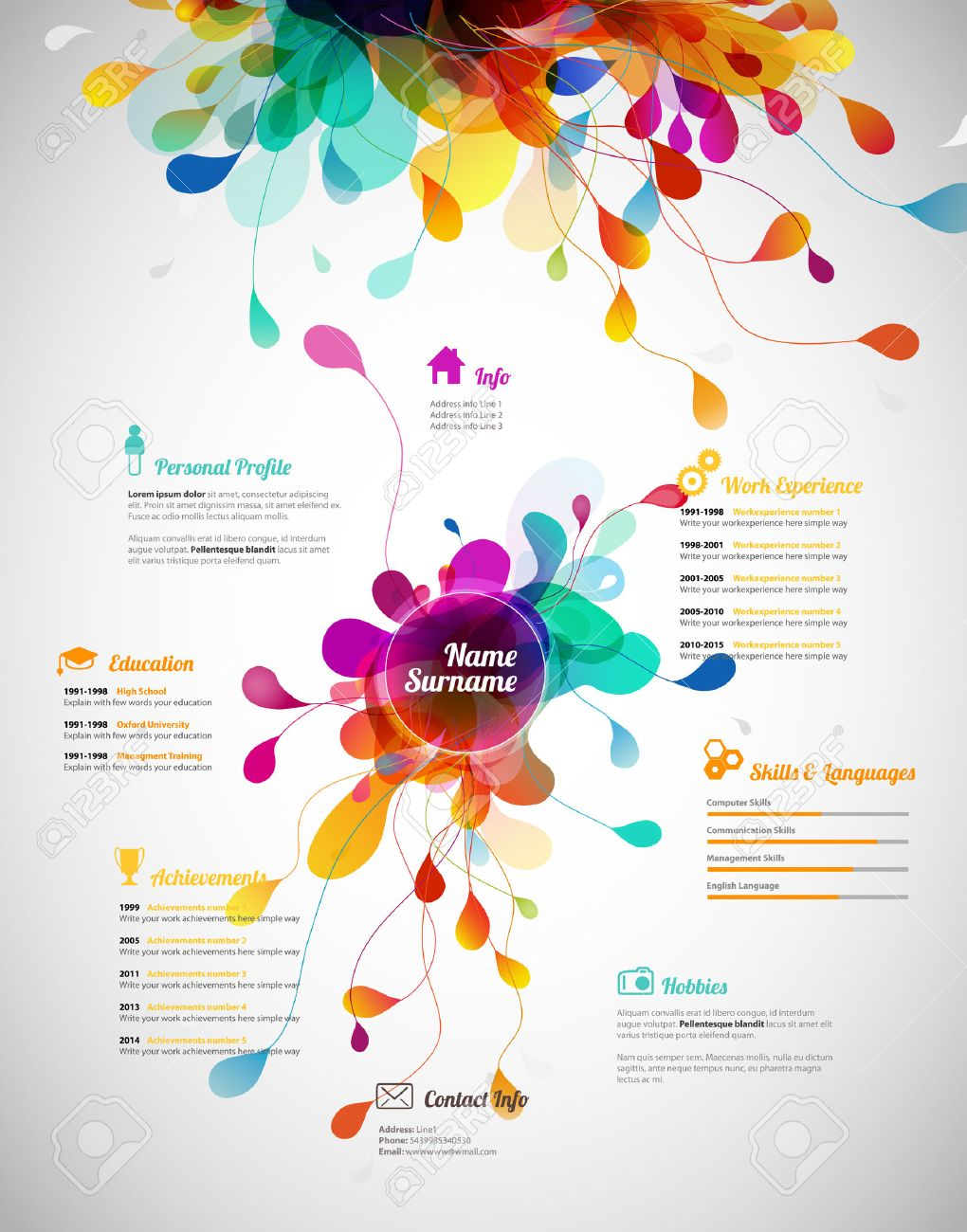 Creative Color Rich Cv Resume Template Royalty Free Cliparts