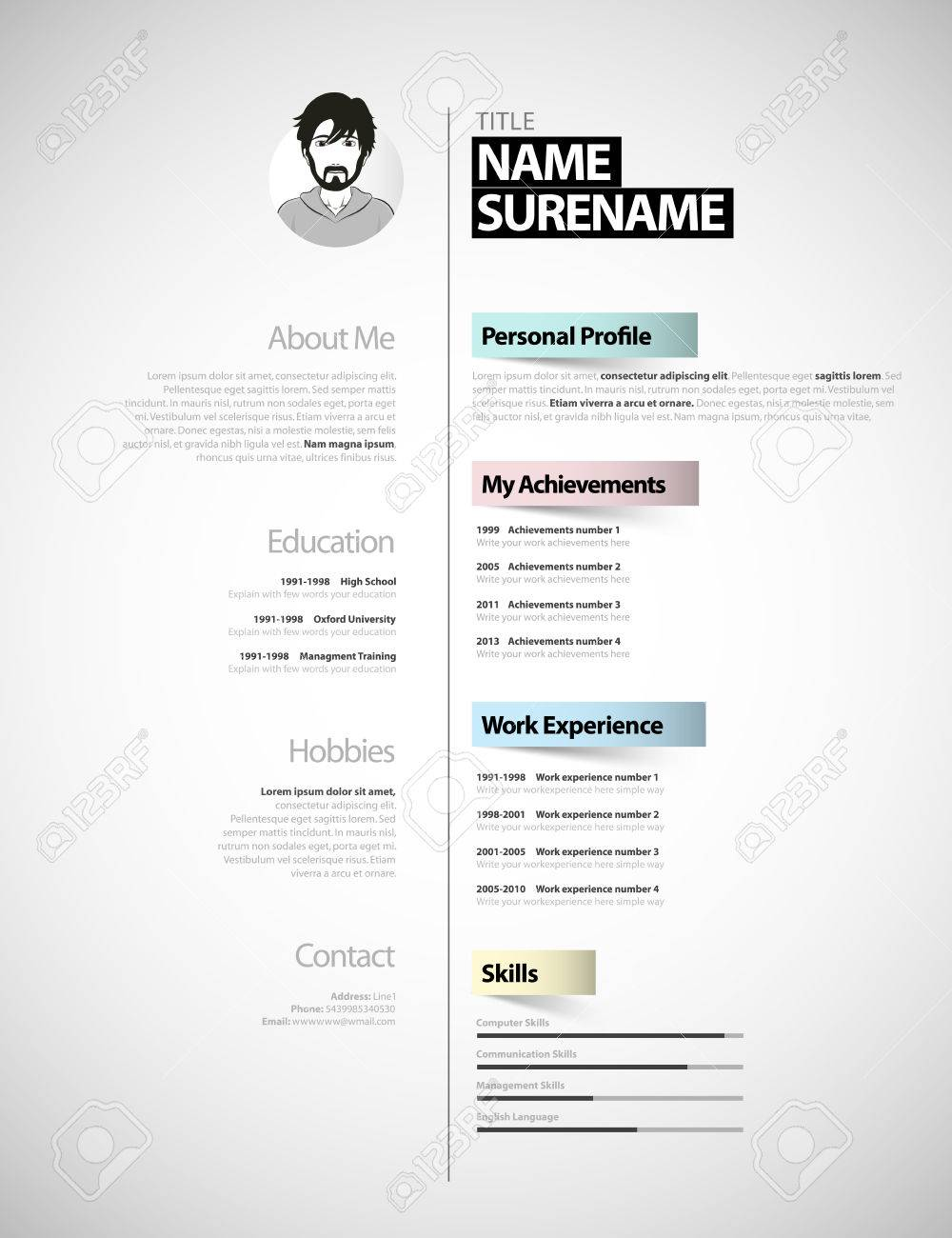 creative cv Creative Cv Template With Paper Stripes. Royalty Free Cliparts
