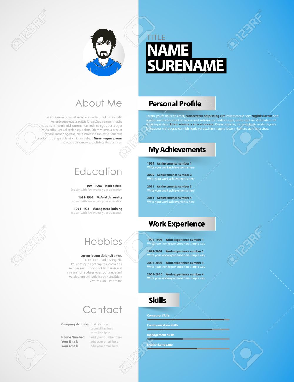 Creative Cv Template With Paper Stripes Royalty Free Cliparts