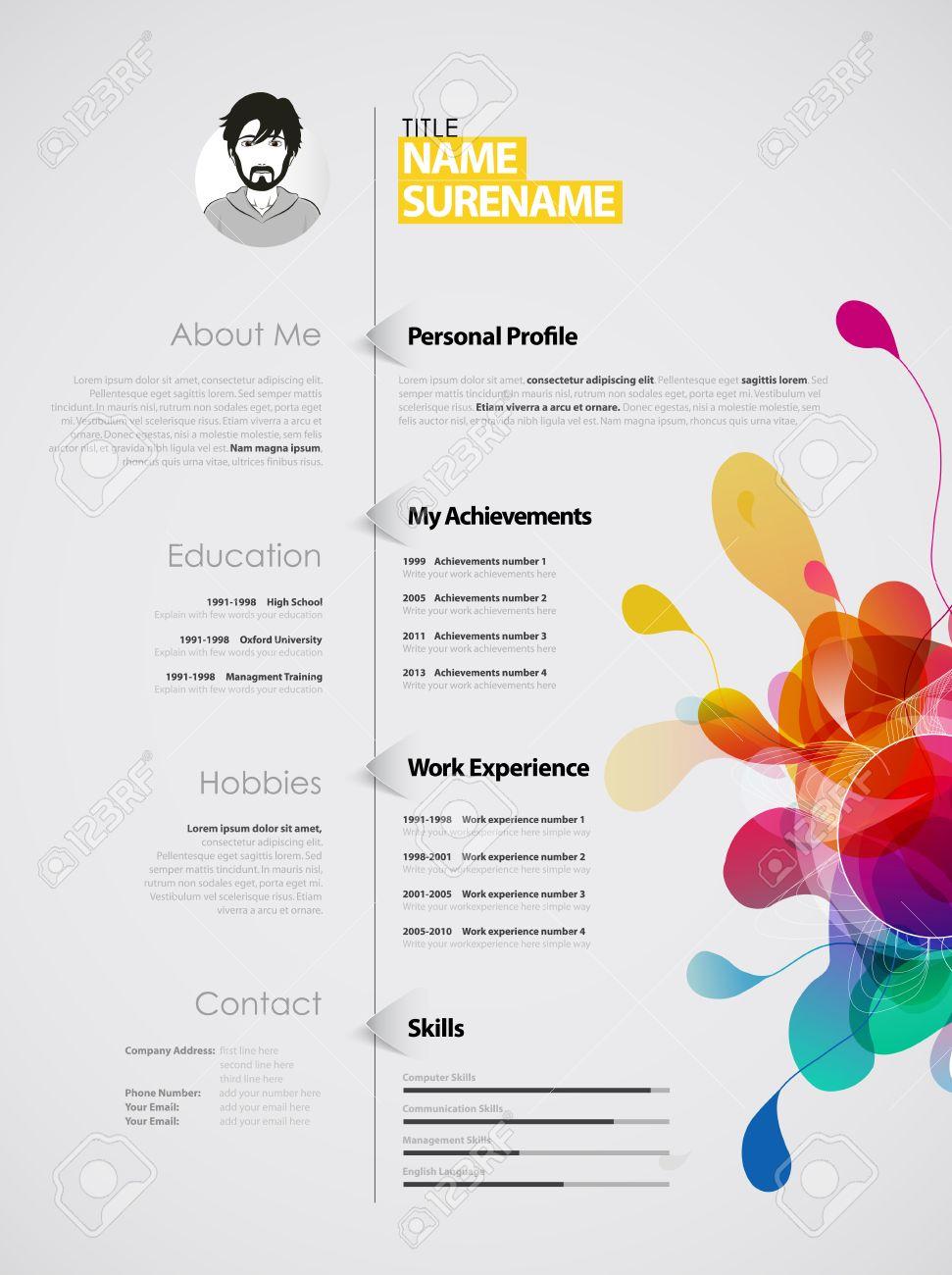 Color Rico Plantilla CV / Currículum Creativo. Ilustraciones ...