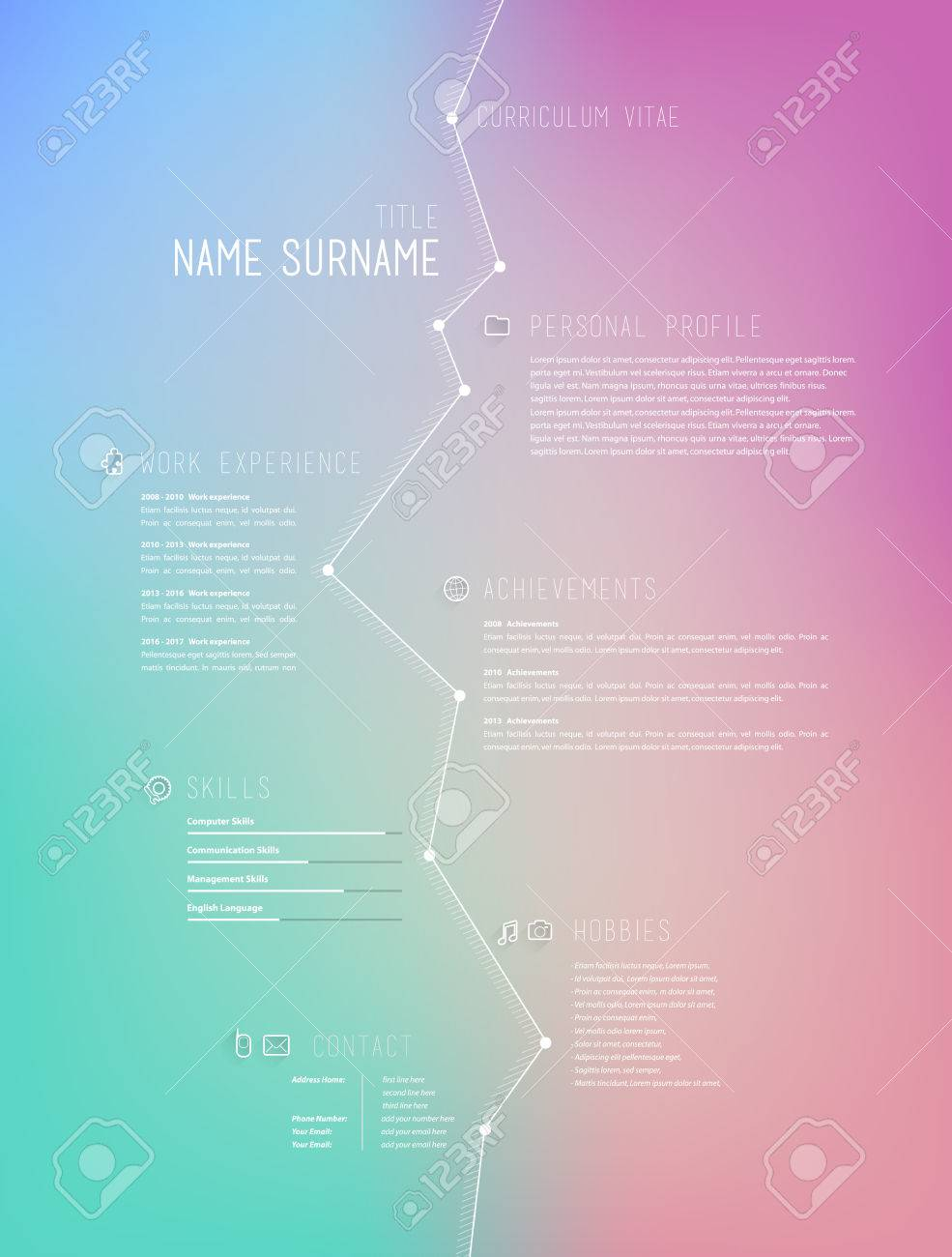 Creative Simple Curriculum Vitae Template On Colorful Background