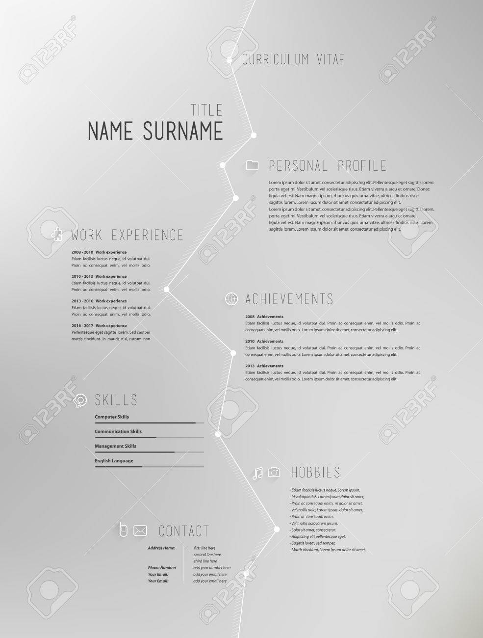 creative simple curriculum vitae template on grey background