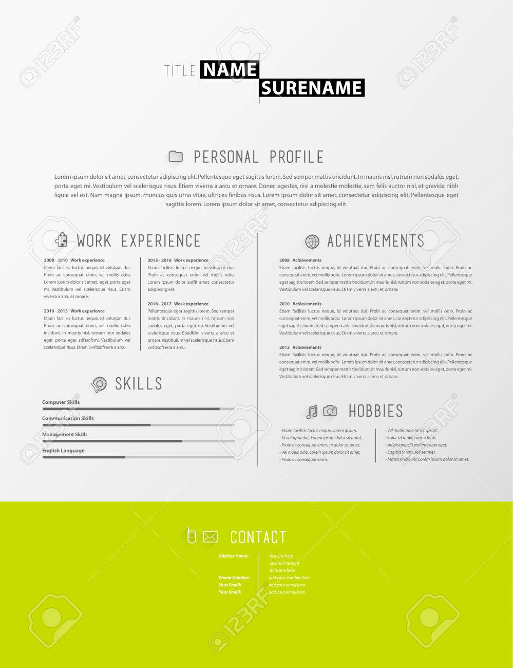 creative simple cv template with green stripe in footer stock vector 64539002
