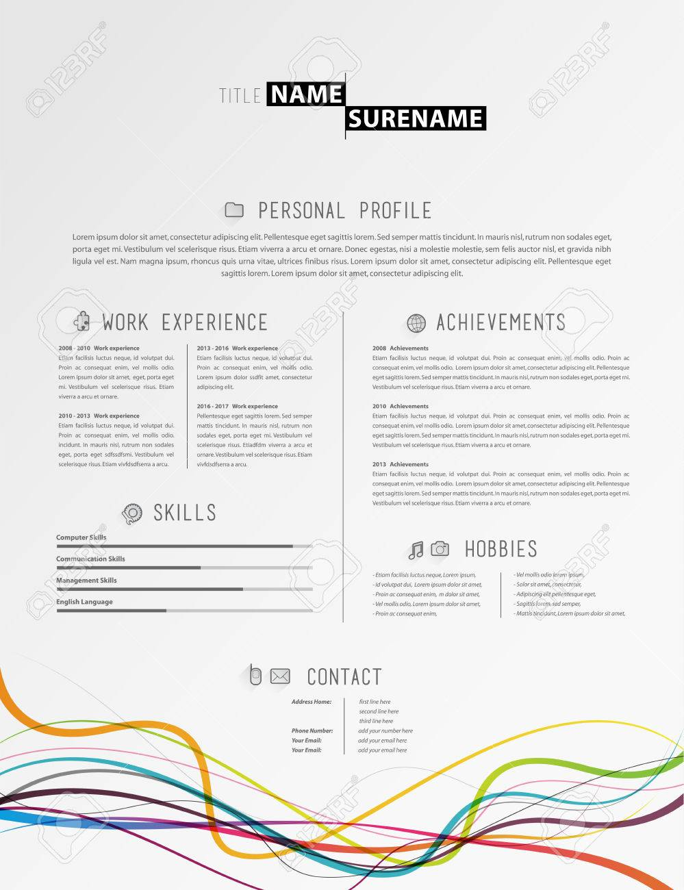 Creative Simple Cv Template With Colorful Lines At The Footer. Stock Vector    64539004